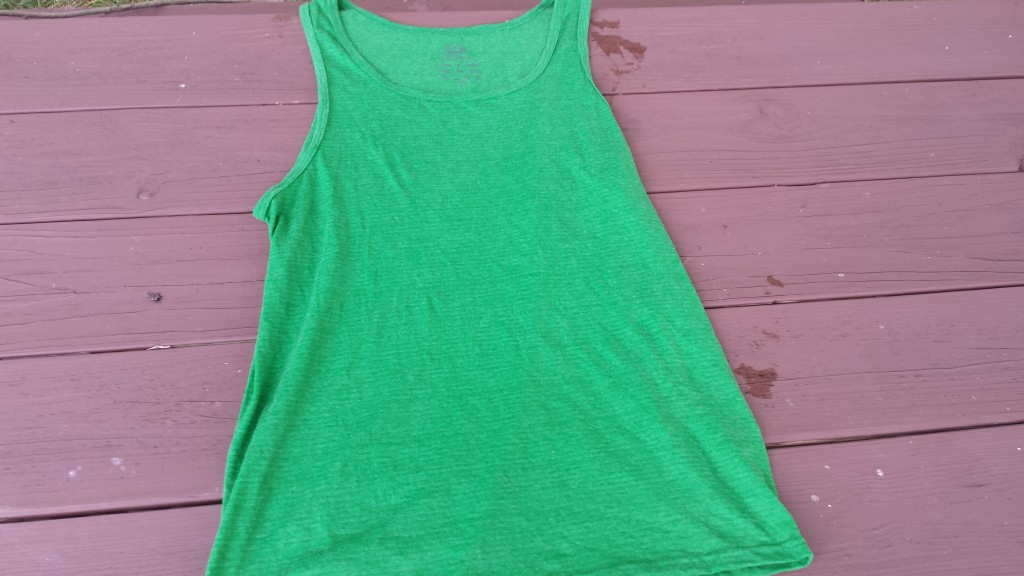 before tie dye, green tank