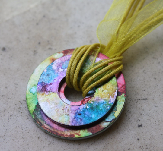 alcohol ink washer pendant