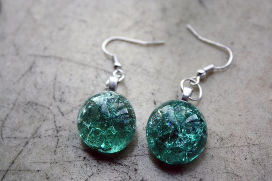 cracked glass jewelry earrings